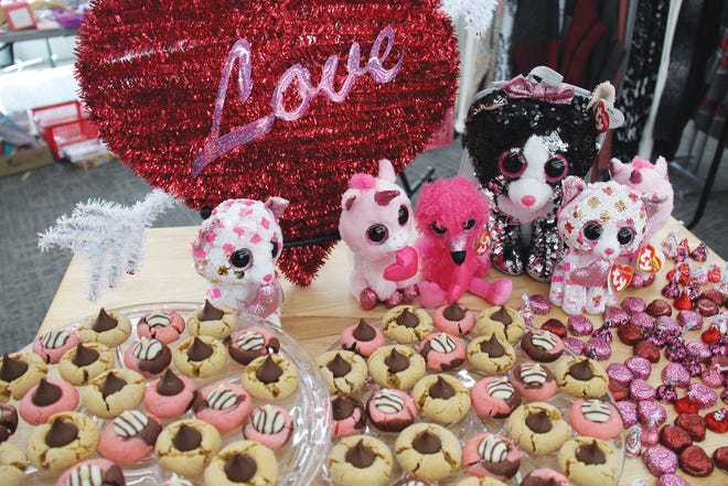 Cookies and chocolates are displayed along with a large heart and other Valentine's Day gifts at Ben's Five and Dime during the last year's Chocolate Walk.