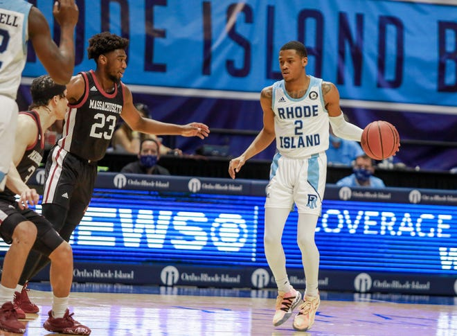 URI's Jeremy Sheppard looks to set up a play against UMass on Saturday. The Rams will play at St. Louis on Wednesday night.