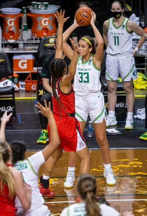 Oregon freshman Sydney Parrish (33), shown in this file photo against Arizona, scored 17 points during the Ducks' 72-48 win at USC on Sunday.