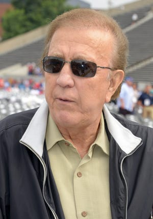 Former Raiders coach Tom Flores at the 2014 Pro Football Hall of Fame Enshrinement at Fawcett Stadium, Aug. 2, 2014, in Canton. Flores is a member of the Hall's Class of 2021. (Kirby Lee-USA TODAY Sports)