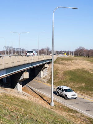 Traffic flows north at the Third Street overpass on Dec. 4 in Rockford. Removing the overpass and reconfiguring the Whitman Street interchange is part of the city's five-year capital plan, which is funded in part by a 1% sales tax for road and infrastructure that voters will be asked to extend on Feb. 23.
