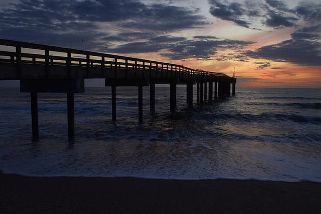 Sunrise at the St. Augustine Beach Pier.