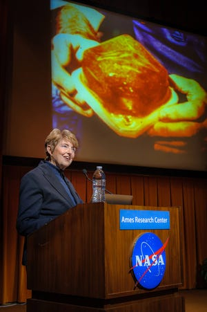 """Millie Hughes-Fulford gives a presentation titled """"Of Mice and Men: Immunology in Spaceflight."""" Hughes-Fulford, a Tarleton State graduate, was the first woman payload specialist to fly for NASA. She passed away Feb. 5 at her home in San Francisco."""