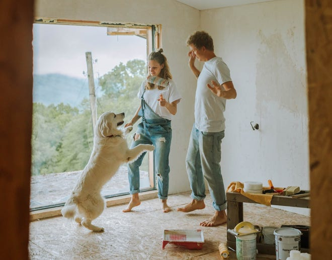 PANDEMIC PAWSITIVES: One in three couples made home improvements as a result of the pandemic, and nearly one in ten brought home a new furry friend, according to a Homes.com survey.