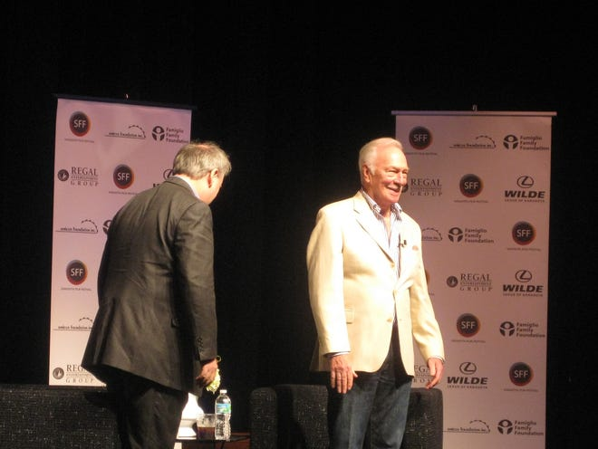 Christopher Plummer greets the audience at a 2011 Sarasota Film Festival conversation with film critic David Edelstein.