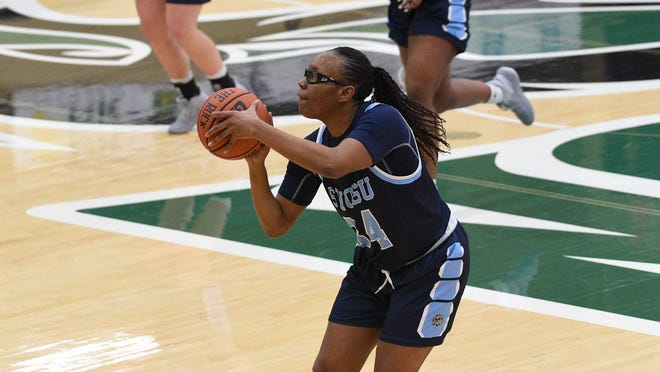 Former Shawnee High School star and current Southwestern Oklahoma State University Lady Bulldog Makyra Tramble puts up a shot during a game against Oklahoma Baptist University earlier this season.