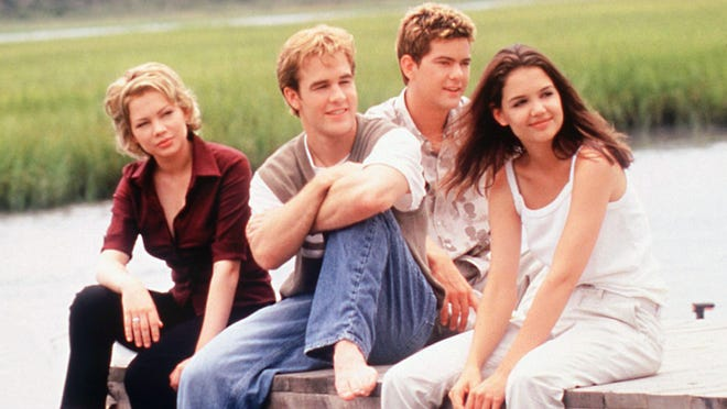 "Michelle Williams (left to right), James Van Der Beek, Joshua Jackson and Katie Holmes starred in ""Dawson's Creek,"" a Cape Cod-set series shot in Wilmington from 1998 and 2003."
