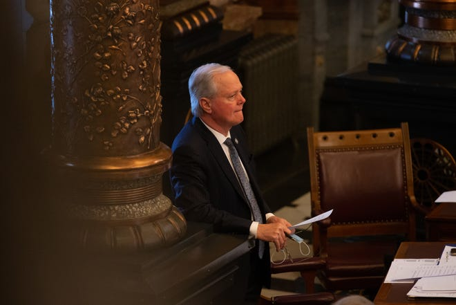 Senate Majority Leader Gene Suellentrop, R-Wichita, sits on the Senate floor last month. He was arrested early Tuesday morning for a series of alleged traffic violations, including suspicion of driving under the influence.