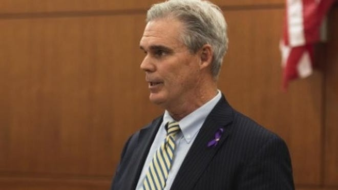 Worcester District Attorney Joseph D. Early Jr. speaks during an Oct. 2019 event at the courthouse.