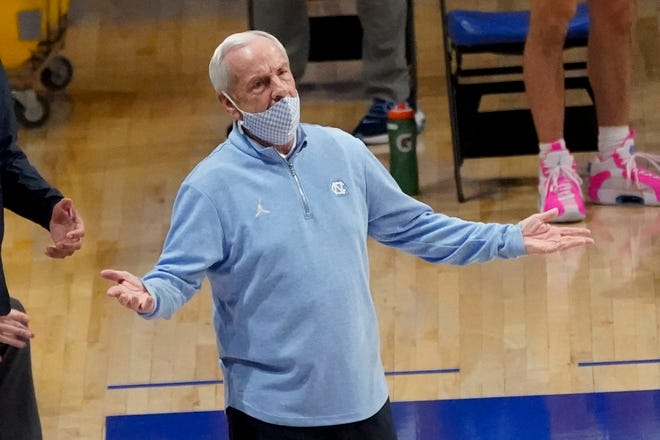 Coach Roy Williams reacts during North Carolina's victory at Pittsburgh two weeks ago.