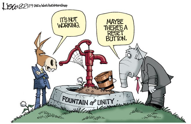 The bi-partison well of unity has run dry. By Lisa Benson.