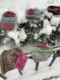 First Congregational Church Winchester knitters created92 hats and scarvesand distributed them to the Dwelling Place in Woburn and the BostonWarm day shelter.
