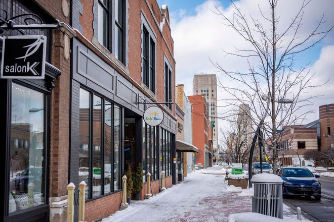 East Michigan Avenue is pictured on Tuesday, Feb. 9, 2021 in Battle Creek, Mich. The city of Battle Creek is expanding its social district this year to allow more space for social distancing for when people drink and dine out.