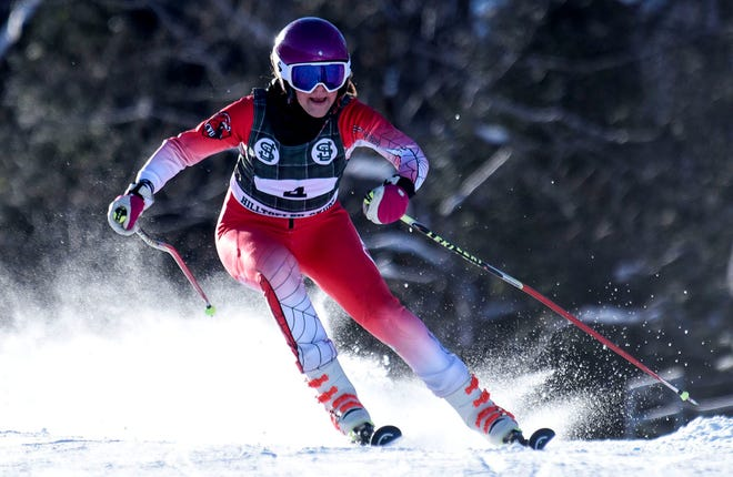 Champlain Valley Union's Olivia Zubarik competes in a giant slalom at Burke Mountain on Monday, Feb. 8, 2021. She won the two-run girls race by over 4 seconds.