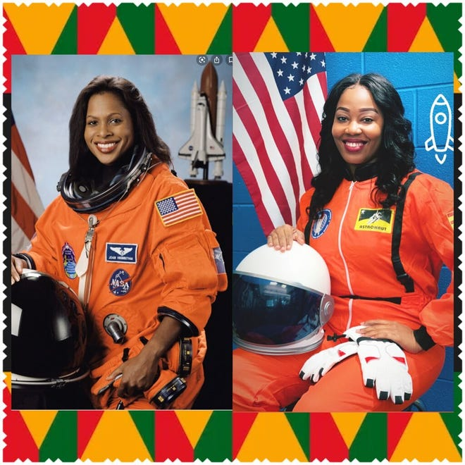 """Webb Elementary School's assistant principal Kimberly Ellis dressed up as Joan Higginbotham, the third black woman NASA astronaut to go to space. She dresses up as part of her """"Trivia Thursday"""" to teach students about historical black figures for Black History Month."""