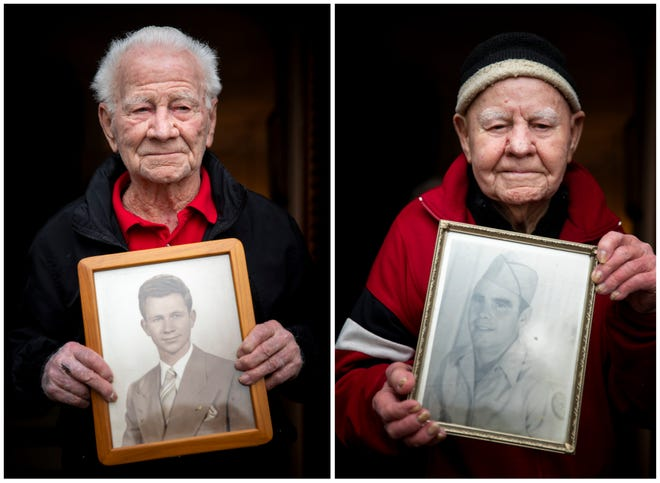 Charlie, left, and Joe Brafford, right, hold younger photos of themselves while standing outside Charlie's home in Green Township on Tuesday, January 5, 2020. The brothers grew up in Cincinnati and served overseas in World War II. When they returned, they ran an auto shop together for years. Charlie is 95 years old, and Joe is 96 years old. They are the last remaining siblings from a family of nine.