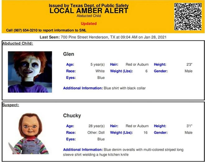 This photo provided by The Texas Department of Public Safety shows an Amber Alert test for Chucky and his son Glen Ray that was released last Friday, Jan. 29, 2021, by the agency.