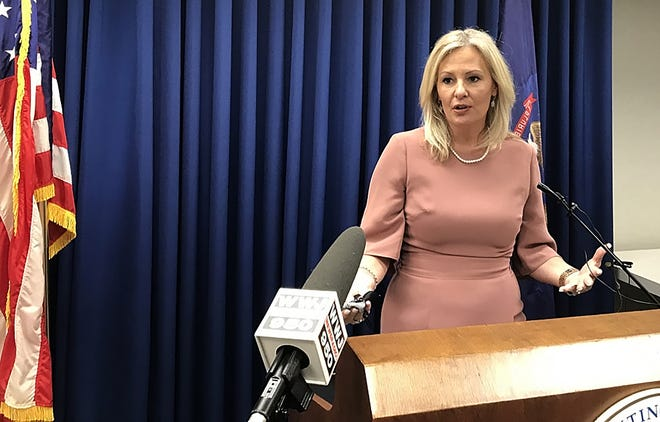 Oakland County Prosecutor Karen McDonald, speaks about two arrests that broke up a human trafficking ring operating at motels in Madison Heights.