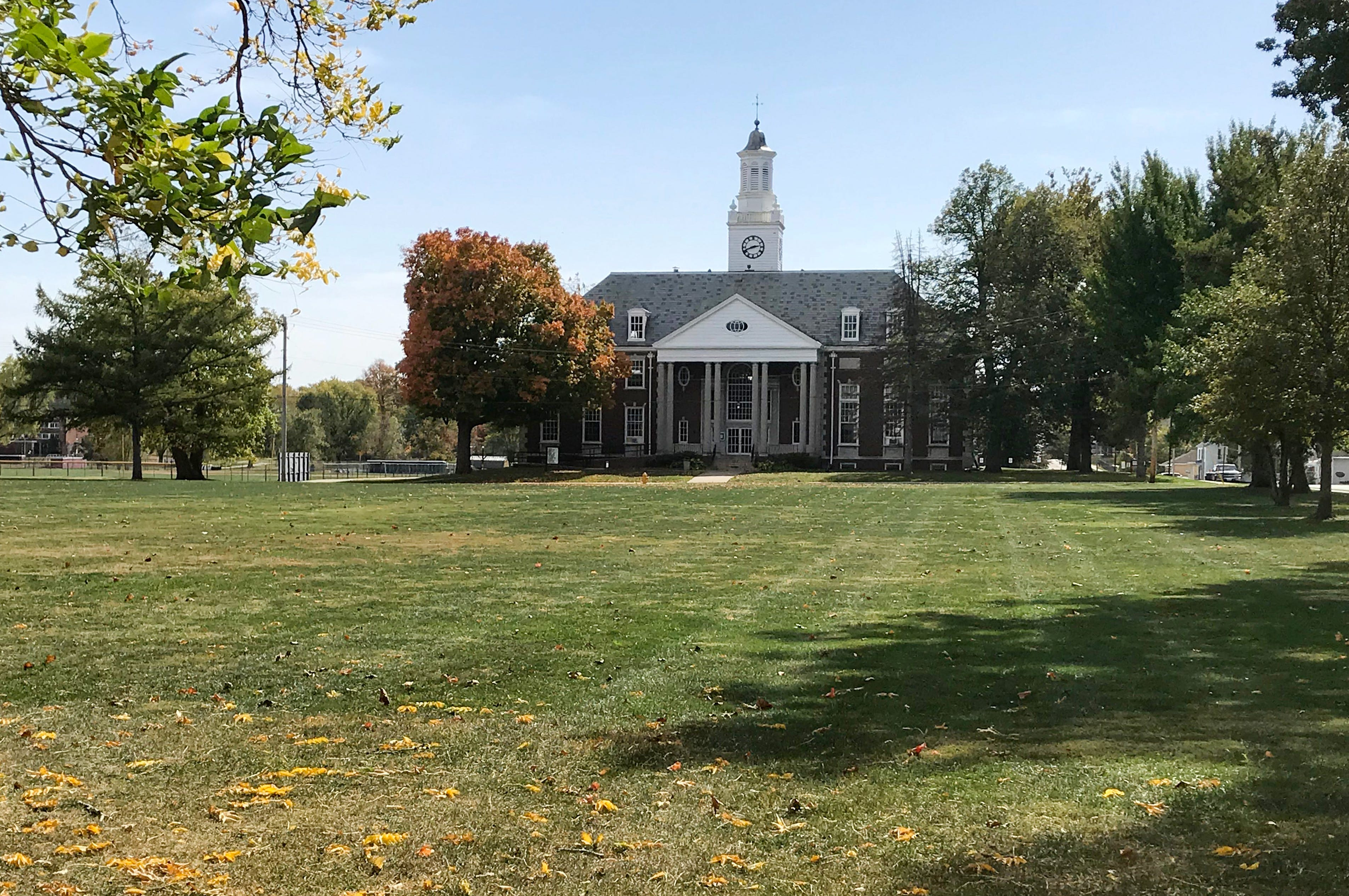 The grass is still being mowed, but no students walk across it to get the Henry Pfeiffer Library at MacMurray College. Built in 1941, it was sold at auction in mid-November with the Gamble Campus Center for $19,000.
