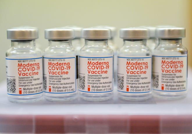 Empty vials of  the Moderna COVID-19 Vaccine used at the Montana Veterans Affairs' COVID-19 vaccination clinic on Tuesday at Holiday Village Mall.  The VA planned to vaccinate 500 veterans during Tuesday's clinic.