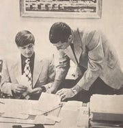 Steve Green (left) with Bob Knight as he signs his national letter of intent to play at IU in 1971.