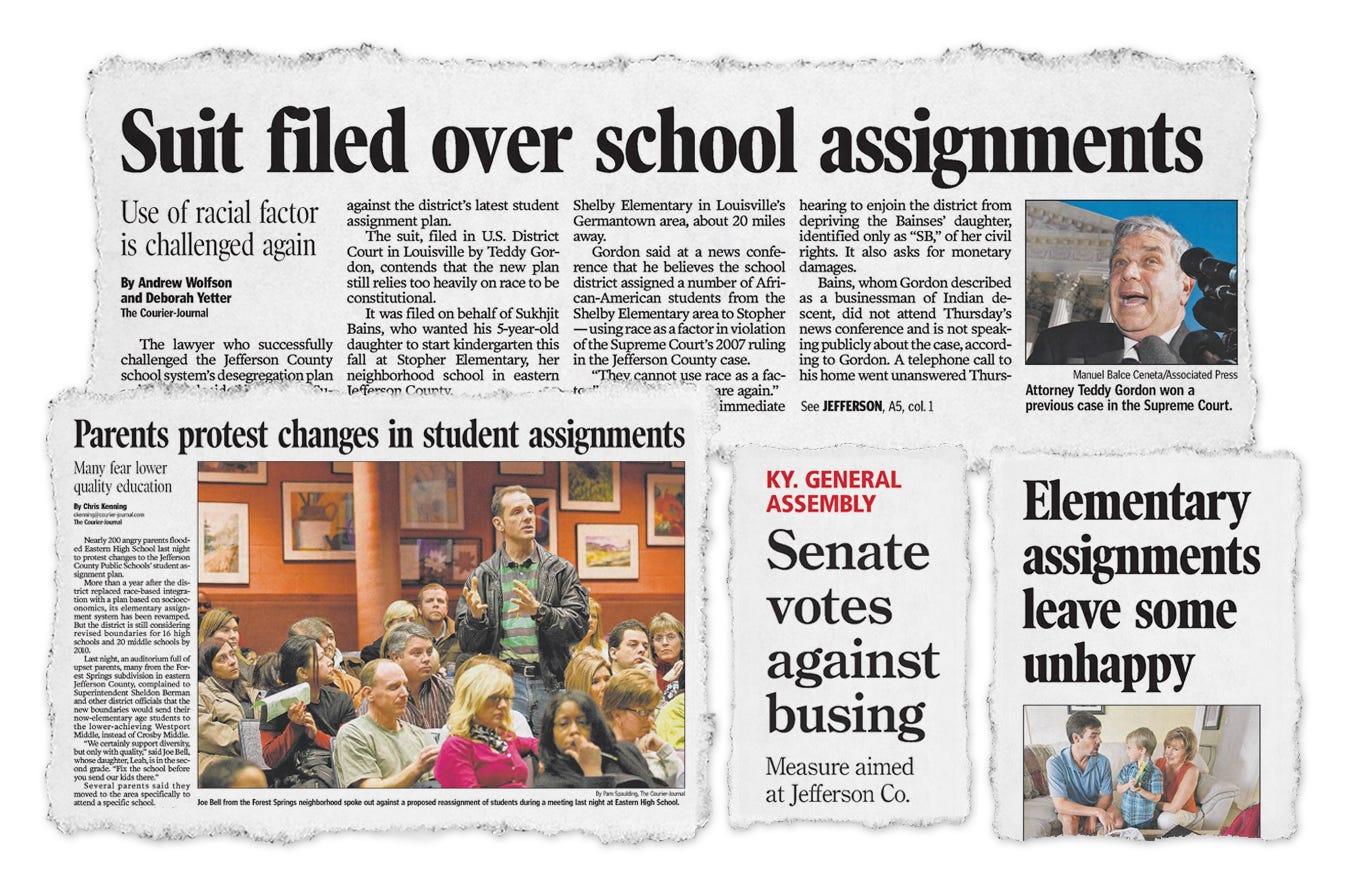 Newspaper clippings from past Courier Journal coverage of JCPS assignment changes.