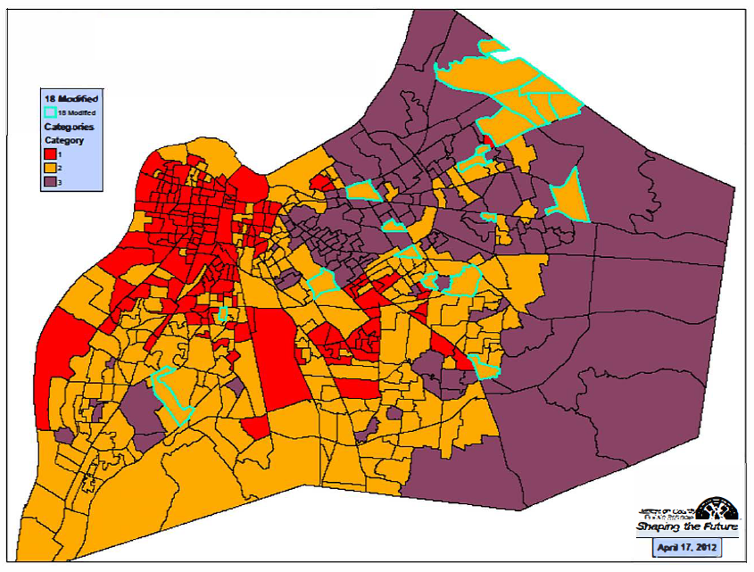 """Under Jefferson County Public Schools' student assignment plan, U.S. Census blocks are categorized by income, education and race. Blocks labeled """"3,"""" shown in purple, are considered to be more advantaged."""
