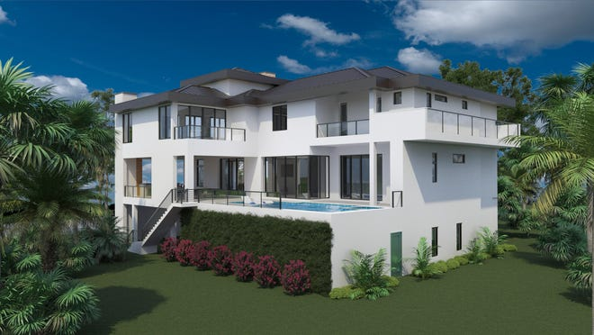 An artists' rendering of the rear view of Diamond Custom Homes' new estate currently under construction on the corner of Seabreeze Avenue and Gulf Shore Drive.
