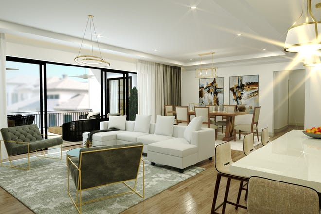 Quattro's 2,733 square feet under air Giada floor plan at Naples Square features a 305 square-foot covered balcony that easily accommodates conversation and dining areas.  T