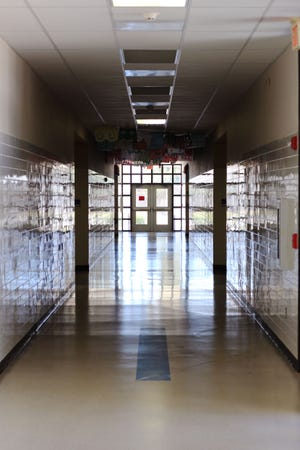Las Cruces High School sits empty of students on Feb. 9, 2021. Las Cruces Public Schools has remained remote since March 2020.