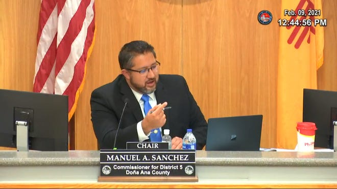 Doña Ana County Commission Chair Manuel Sanchez speaks against the proposed New Mexico Civil Rights Act at a county commission meeting Feb. 9, 2021.