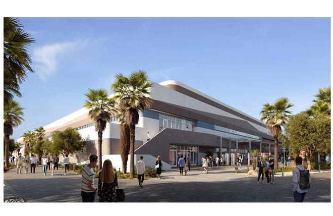 A rendering shows the exterior of the Coachella Valley arena proposed for the Palm Desert area by the end of 2022.