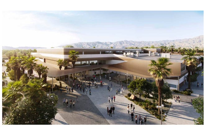 A rendering shows the exterior of the Coachella Valley arena proposed near the Palm Desert area by the end of 2022.