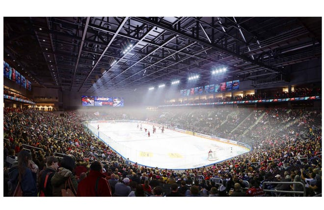 A rendering shows what the inside of the planned Coachella Valley arena could look like during ice hockey games. The arena is expected to host an American Hockey League team, live music and other events.