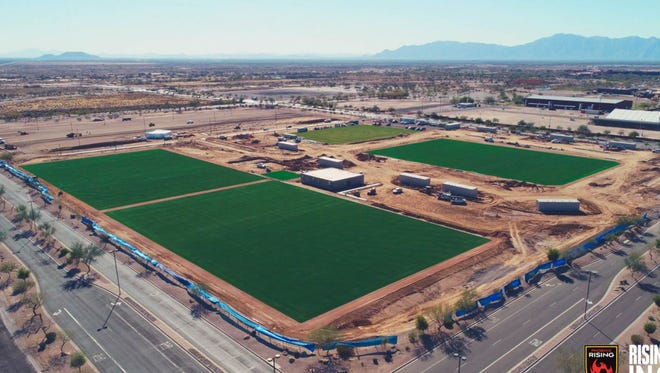 Aerial view of the new fields being built as part of the Phoenix Rising FC's new stadium and training complex near Wild Horse Pass.
