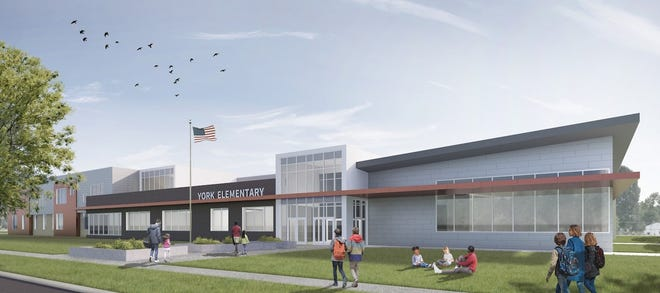 An artist rendering of the new York Elementary School, as designed by Sapp Design Architects.