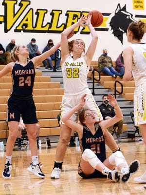 Tailor Dupler tries to secure a rebound during Tri-Valley's 58-47 win against visiting Morgan on Feb. 8 in Dresden.
