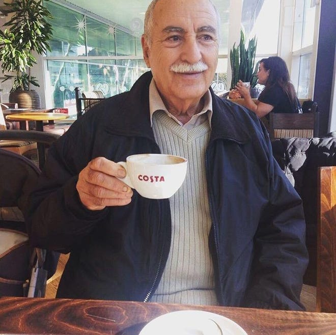 Abdulmagid Ghaffar at an Istanbul cafe in 2016. Ghaffar, a Libyan-born U.S. citizen, was visiting family in California when he was diagnosed with pancreatic cancer in 2019, but Libyan family members were unable to visit as he underwent medical treatment because of a travel ban imposed by former President Donald Trump. President Joe Biden lifted the ban on his first day in office.
