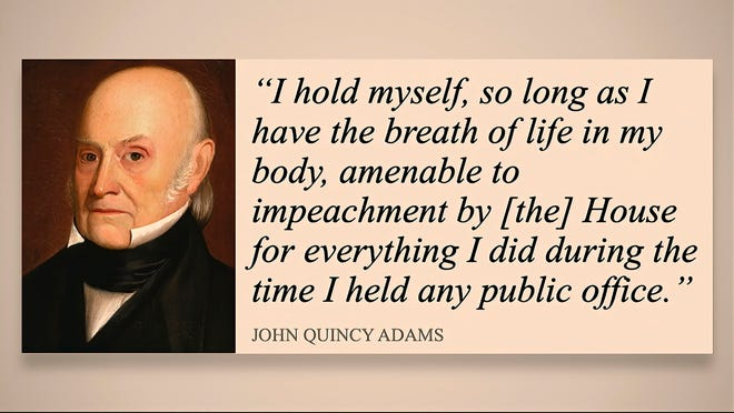 """John Quincy Adams says he's """"amenable to impeachment"""" until he dies for everything he did in public office, quote displayed Feb. 9, 2021, on the Senate floor in Washington, D.C."""