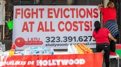 Protest against evictions on Feb. 8, 2021, in Hollywood, California.