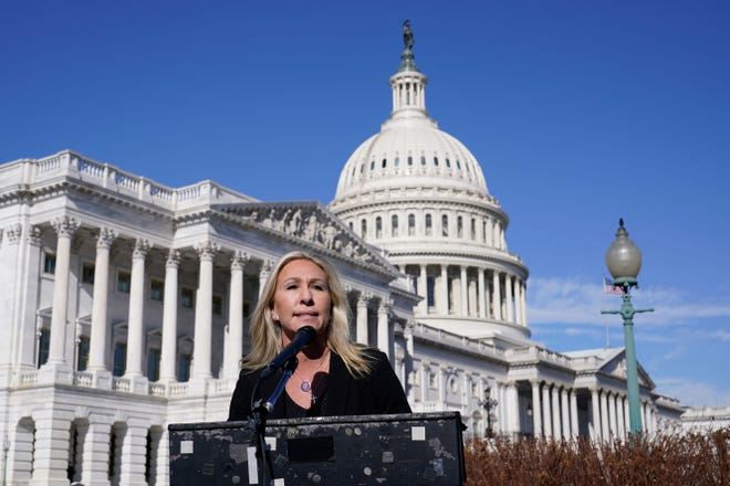 Rep. Marjorie Taylor Greene, R-Ga., speaks during a news conference on Capitol Hill last week.