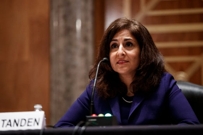 Neera Tanden, nominee for director of the Office and Management and Budget,  speaks during a Senate Homeland Security and Governmental Affairs Committee confirmation hearing on February 9, 2021 in Washington, DC.