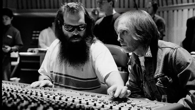 "Tom Petty in the recording studio with Rick Rubin, from the documentary ""Tom Petty, Somewhere You Feel Free."""