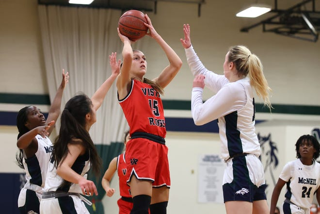 Vista Ridge senior A.J. Marotte scored 23 points as the Rangers ended the regular season with a win over rival Vandegrift. Vista Ridge enters the postseason as the top seed out of District 25-6A.