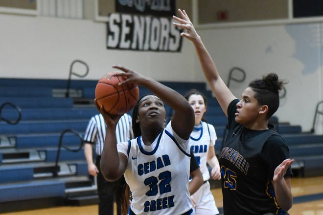 Cedar Creek's Janell Welcome dominated the inside with 19 points and 17 rebounds in the Eagles' 48-39 win over Bastrop Tuesday. It marked the first time in school history Cedar Creek has swept the season series from its rival.