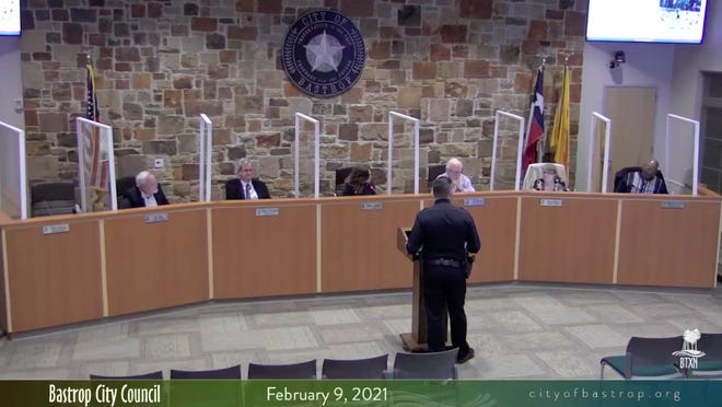 Bastrop Police Chief Clint Nagy presents the Bastrop Police Department's 2020 racial profiling report to the Bastrop City Council during Tuesday's council meeting. The report covered all 2,182 traffic stops conducted by the department in 2020.