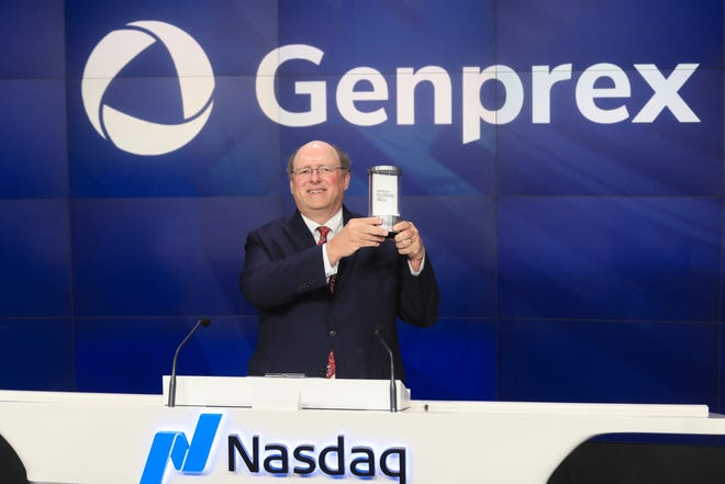 Rodney Varner, founder and CEO of Austin-based biotech company Genprex, takes part in the closing bell ceremony at the Nasdaq exchange in 2018 following the company's initial public offering of stock.