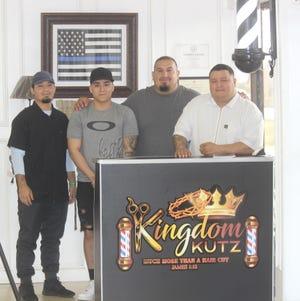Juan Lopez, Gabriel Arrollo, Pastor Paul Garza and head barber Justin Trevino from Kingdom Kutz in Alice, Texas.