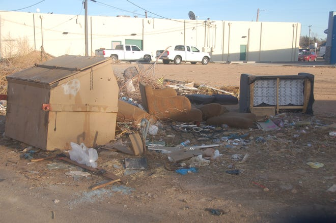 Pictured is debris discarded in the rear of the 2700 block of SW 10th Ave. in Amarillo. City officials said the initial phase of the process to address illegal dumping via civil penalties has begun.