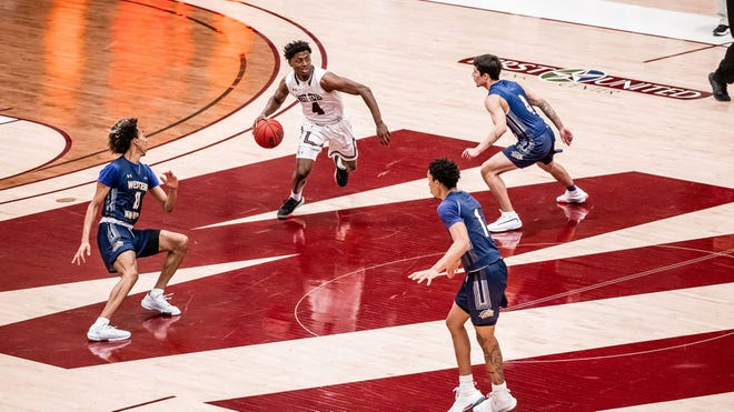 WT's Jon'il Fugett (No. 4) scored a career-high 23 points as No. 5 West Texas A&M improved to 8-1 on the season with a 98-80 non-conference victory over Western New Mexico on Tuesday.